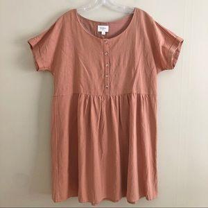 EVERLY linen button babydoll dress